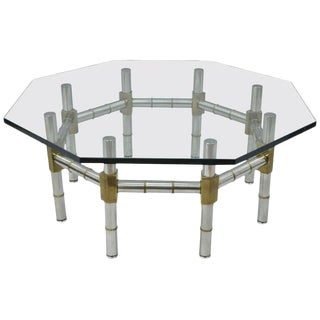 1970s Hollywood Regency Chrome and Brass Faux Bamboo Glass Top Octagonal Coffee Table For Sale