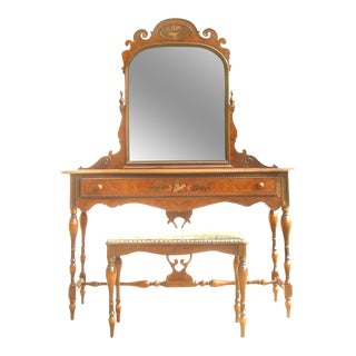 Special Midwest Delivery - 19th C. Berkey & Gay Dressing Table, Mirror, & Bench, Set of 3 For Sale
