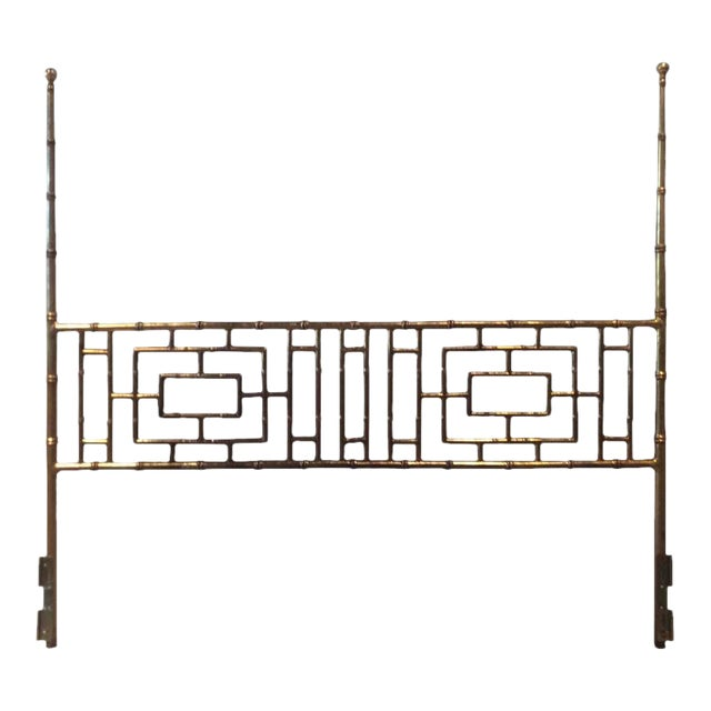 Vintage Faux Bamboo Chinese Chippendale King-Size Headboard For Sale
