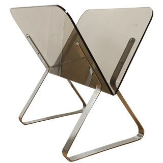Mid-Century Chrome & Lucite Magazine Rack