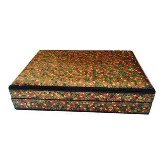 Floral Motif Enamel Box For Sale