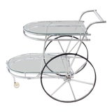 Image of Mid-Century Modern Large Wheel Design Chrome and Glass Tea Bar Cart For Sale