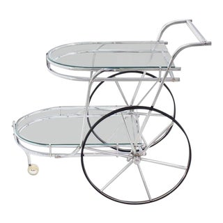 Mid-Century Modern Large Wheel Design Chrome and Glass Tea Bar Cart For Sale
