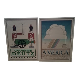 """1930s Vintage David Lance Goines """"America Hastings"""" and """"Champagne Deutz"""" Signed and Framed Lithograph Posters - A Pair For Sale"""
