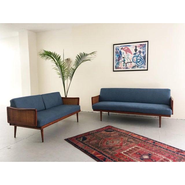 Mid Century Modern Peter Hvidt & Orla Mølgaard Nielsen Teak & Cane Sofa Set- 2 Pieces For Sale - Image 10 of 10