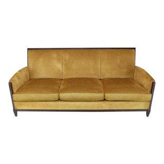 Donghia Modern Luxury Sofa Chenille Upholstery Dark Chocolate Frame Finish For Sale
