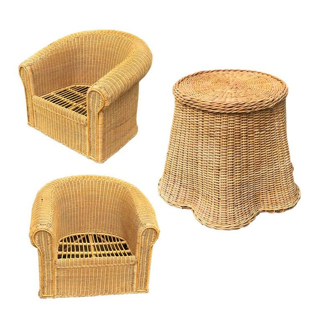 1970s round sculptural handcrafted Trompe L'oeil rattan draped-sheet or ghost table and chair set. The table is handwoven...