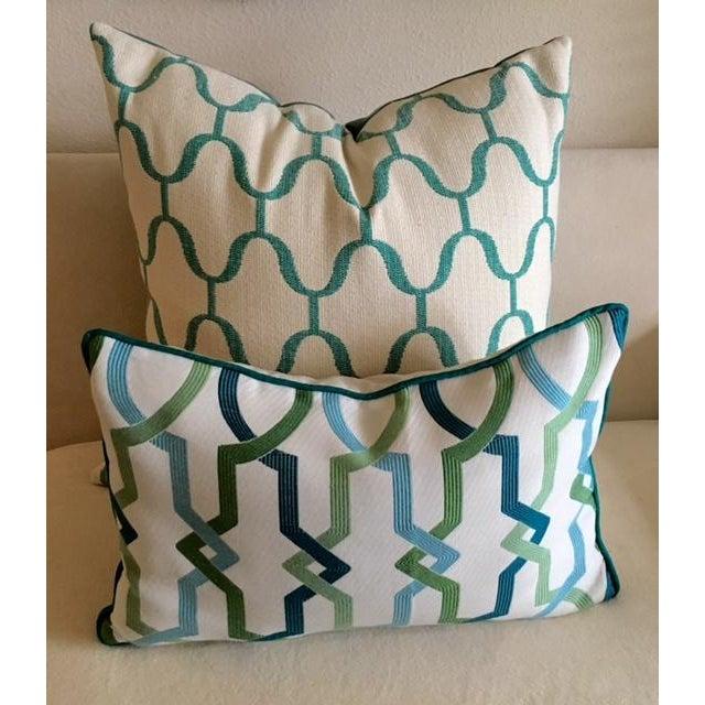 Custom Turquoise Mod Geometric Kidney Pillow - Image 6 of 6