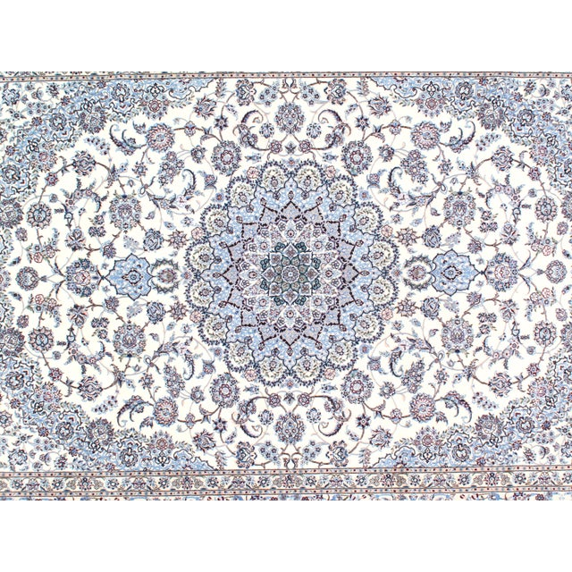 Original Fine Persian NAIN rug. Handmade Hand-knotted Lamb's Wool and Silk on a Cotton Foundation 6-Lines Hand-Spun Wool...