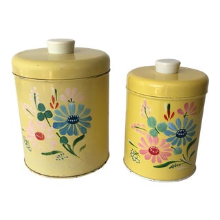 Vintage Ransburg Metal Canisters - A Pair For Sale