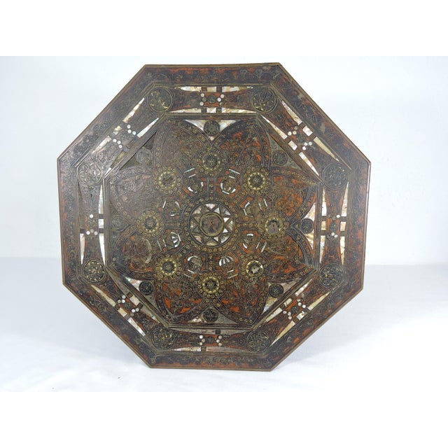 Old Morrocan Inlaid Mother of Pearl, Bone & Multi Wood Octagonal Occasional Side Table For Sale In Tampa - Image 6 of 13