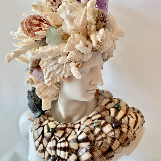 2010s God Apollo Encrusted With Shells Gemstones and Corals Sculpture For Sale - Image 5 of 7