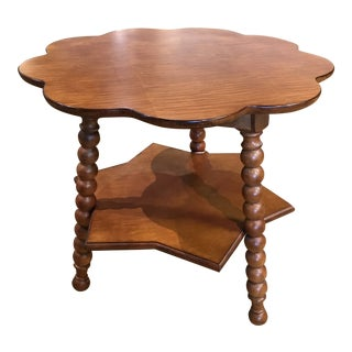20th Century Boho Chic Scallop Edge Wooden Side Table For Sale