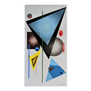 """Atsuko Okamoto Abstract Serigraph A. P. """" Colorscape Blue"""" Signed on Canvas For Sale"""