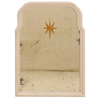 Sunburst Églomisé Antiqued Wall Mirror With Neutral Painted Cream Surround For Sale