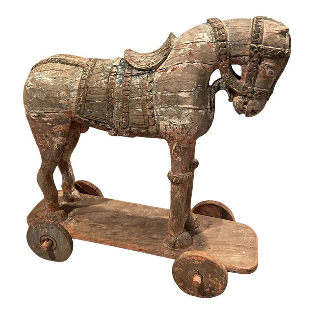 Antique Early 19th Century Wood Horse on Wheels For Sale