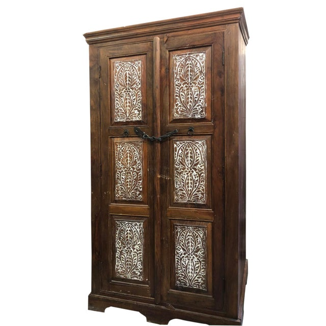 Antique Rustic Handcrafted Floral Carving Cabinet For Sale In Miami - Image 6 of 8