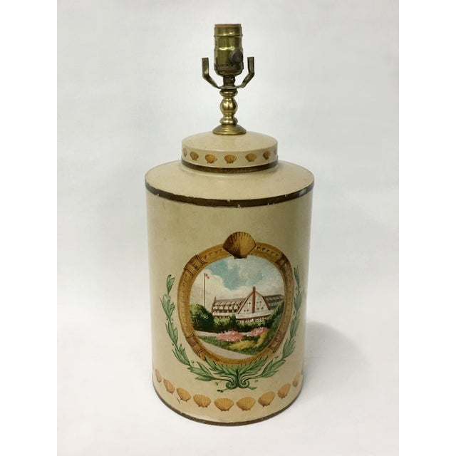 English Traditional Tea Caddy Lamp With Hand Painted Hotel Landscape Design For Sale - Image 3 of 4