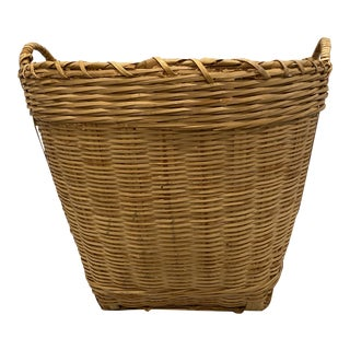 Vintage Boho Chic Woven Wicker Basket For Sale
