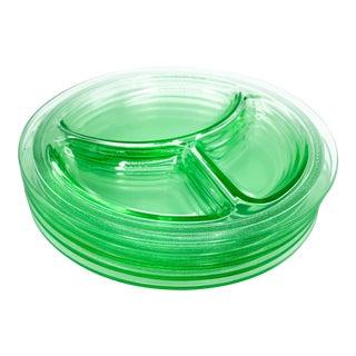 Vintage Bright Uranium Vaseline Green Depression Glass Divided Grill Dinner Plate Set - 5 Pieces For Sale