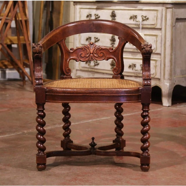 French 19th Century French Louis XIII Carved Oak Barley Twist and Caning Desk Armchair For Sale - Image 3 of 12