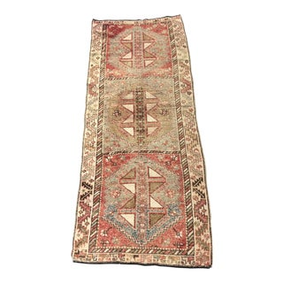 "1930s Boho Chic Turkish Oushak Wide Wool Runner - 4'3""x10'8"""