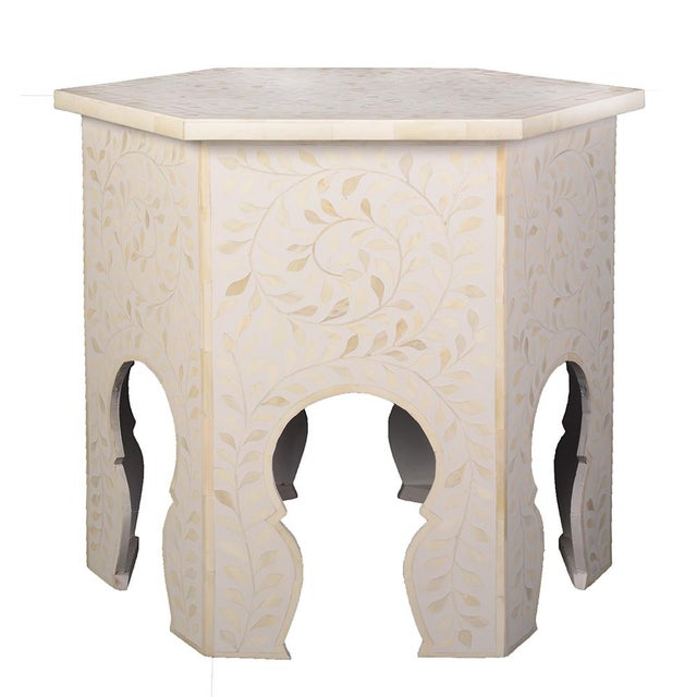 2020s Imperial Beauty Moroccan Accent Table in MOP/White For Sale - Image 5 of 5