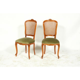 Mid-Century French Louis XVI-Style Dining Room Chairs Featuring Cane Backs and Green Velvet Upholstery S/6 Preview