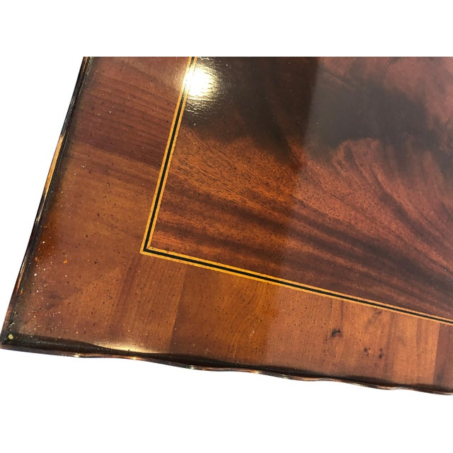 1980s Traditional Heckman Mahogany and Inlaid Tea Side Table For Sale - Image 11 of 13