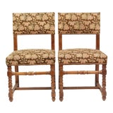 Image of Pair of 1940's Floral French Needlepoint Side Chairs For Sale