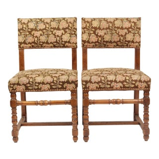 Pair of 1940's Floral French Needlepoint Side Chairs For Sale