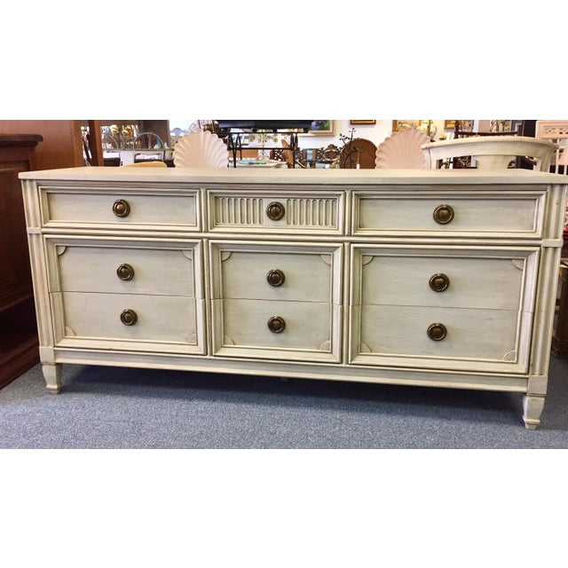 American Gray Lowboy Dresser With Circular Brass Pulls For Sale - Image 3 of 10