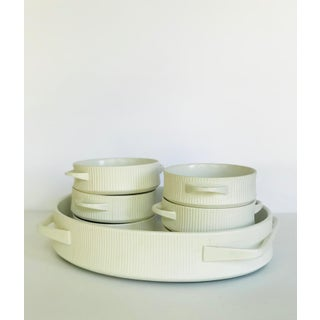 Vintage Mid Century Modern White Ribbed Cordalite Cookware Set - 9 Pieces Preview