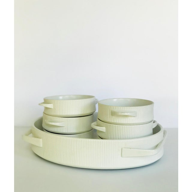 Vintage mid century modern Cordalite Easterling cookware set made in Germany. Minimalist design with white ribbed ceramic...