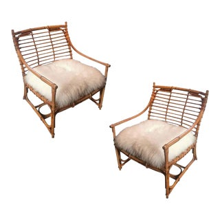 French Riviera Large and Comfy Pair of Rattan Chairs in Perfect Vintage Condition For Sale