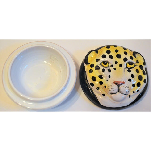 1970s Vintage Italian Leopard Face Trinket Box For Sale - Image 5 of 6