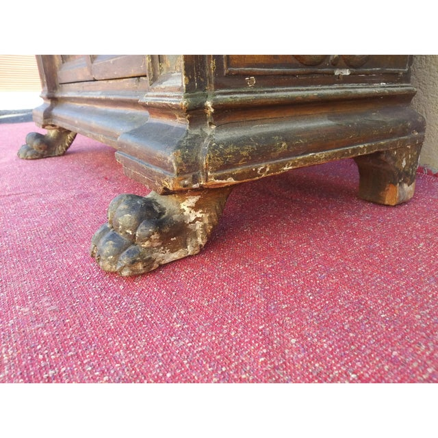 19th Century Italian Hand Painted Polychromed Giltwood Claw Footed 2 Piece Cupboard For Sale In Miami - Image 6 of 13