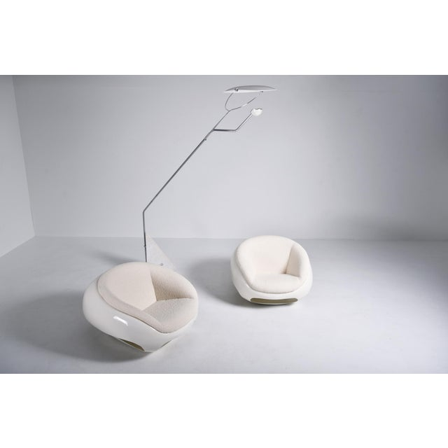 1960s Mario Sabot Sculptural Fiberglass Lounge Chairs in Bouclé - a Pair For Sale - Image 10 of 12