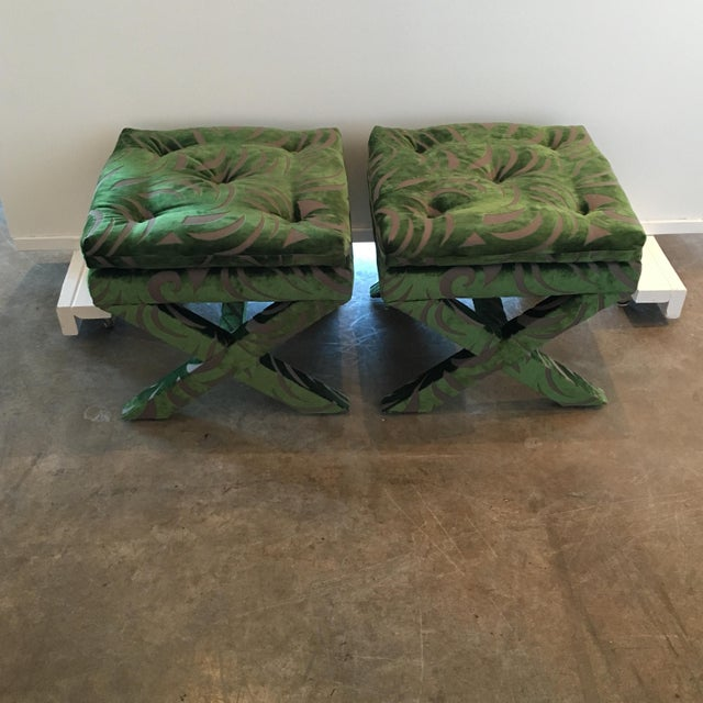 "Pair of Newly Upholstered Billy Baldwin ""X"" Benches - Image 3 of 7"