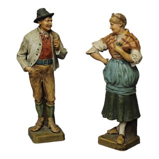 Decorative Folksy Couple Stoneware Figures For Sale