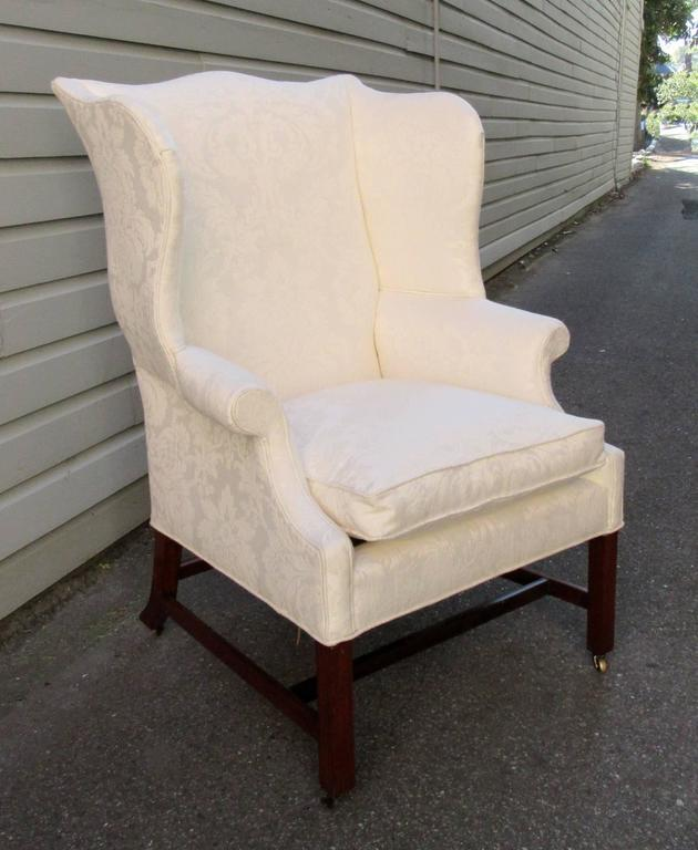 Late 18th Century Virginia Federal Black Walnut Upholstered Wingback Chair    Image 2 Of 7