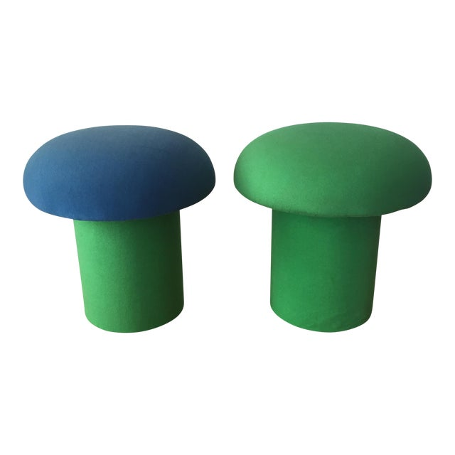Memphis Style Mushroom Ottomans Stools - a Pair For Sale