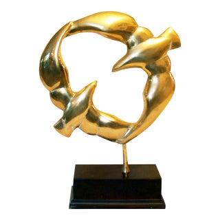 Vintage Brass Birds Sculpture