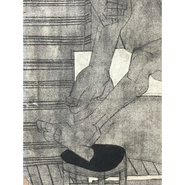 Charcoal 1929 Cubist Charcoal Nude Drawing For Sale - Image 7 of 9