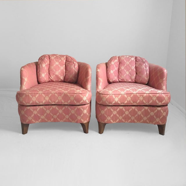 Drexel Heritage Mid Century Coral & Gold Club Chairs - a Pair   Chairish