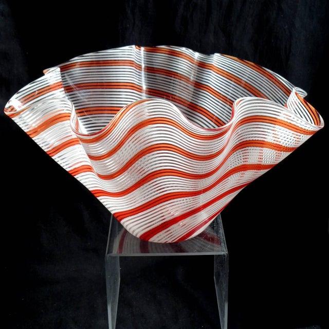 Amazing, large Murano hand blown red orange and white Filigrana ribbons Italian art glass fazzoletto flower vase....