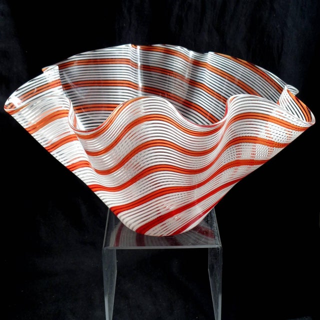 Amazing, large Murano hand blown red orange and white Filigrana ribbons Italian art glass fazzoletto flower vase....