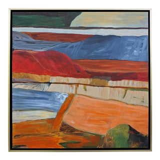 """""""Nowhere No How"""" Contemporary Abstract Landscape Acrylic Painting by Laurie MacMillan, Framed For Sale"""