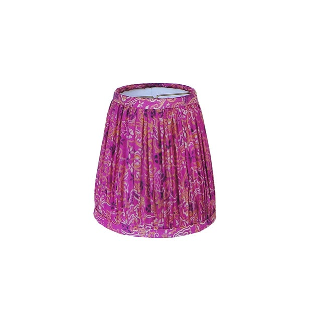 Pink and Navy Silk Sari Gathered Sconce Shade For Sale - Image 4 of 4