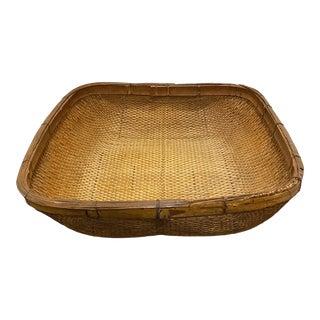 Folk Art Wood Reed Rattan Gathering Basket For Sale